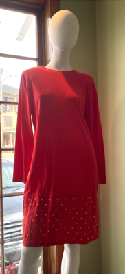 S Roberts Red Knee Length Dress with Silver Studs at Hem, Size L