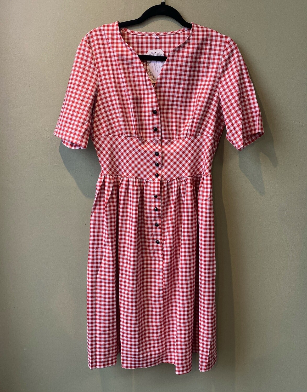 Red and White Checkered Summer Dress, Size M