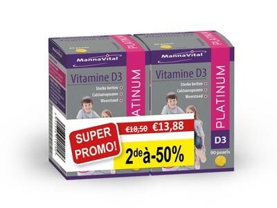 Mannavital Vitamine D3 PLATINUM 2 x 90 pearls = 2de aan halve prijs!