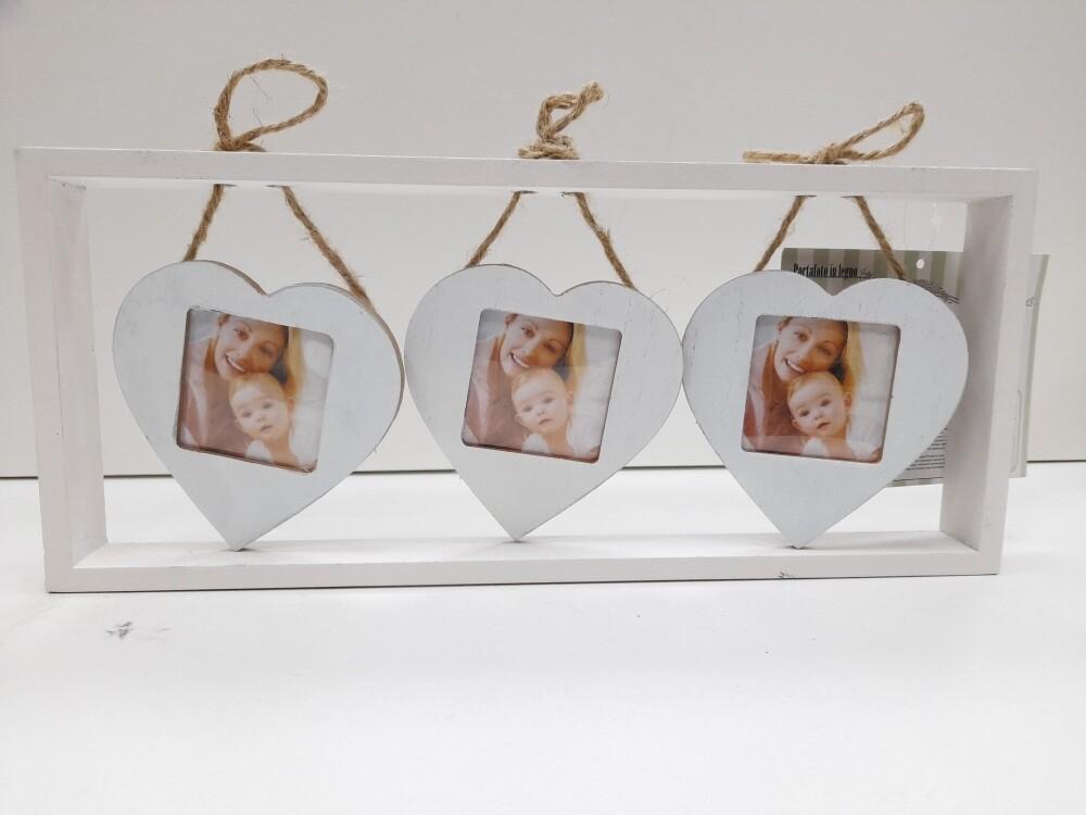Portafoto con 3 pendenti a forma di cuore