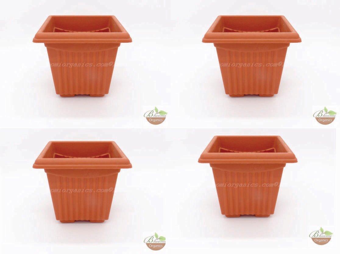 Square Terracotta plastic pot (set of 4) (8 inch)