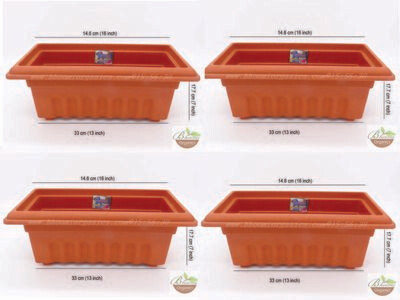 Rectangle terracotta plastic pot GK14 set of 4 (16 inch)