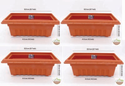 Rectangle terracotta plastic pot GK18 set of 4  (20 inch)