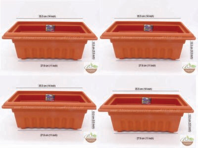 Rectangle terracotta plastic pot GK12 set of 4 (14 inch)