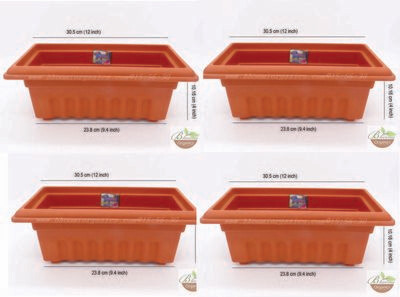 Rectangle terracotta plastic pot GK10 set of 4 (12 inch)