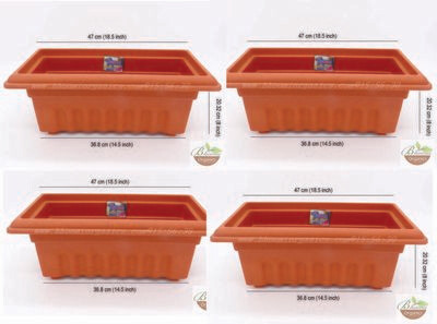 Rectangle terracotta plastic pot GK16 set of 4 (18 inch)