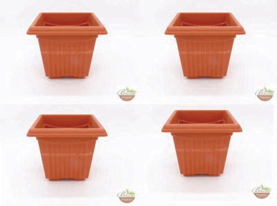 Square Terracotta plastic pot (set of 4) (8 inch)