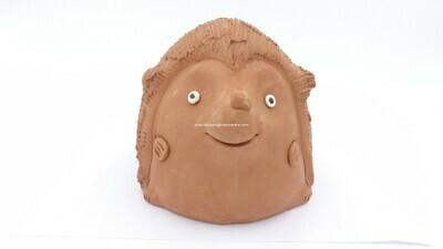 Terracotta clay pot - Hedgehog