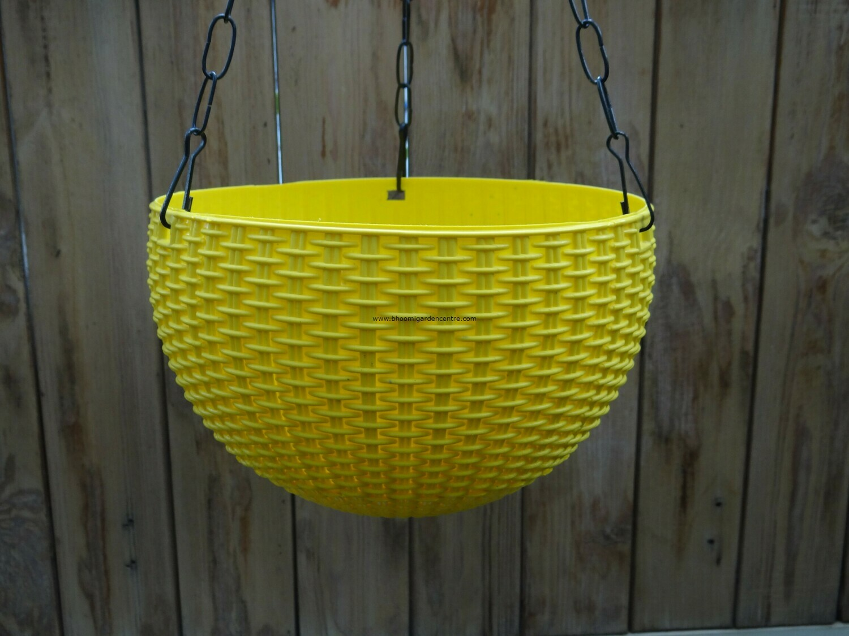 Rattan hanging plastic pot 8.6 inch (multiple colors)