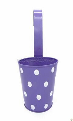 Metal hanging polka dots pot 6 inch (multiple colors)