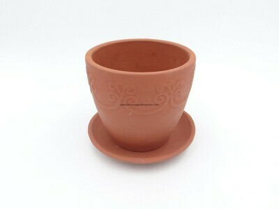 Terracotta Designer pot with plate