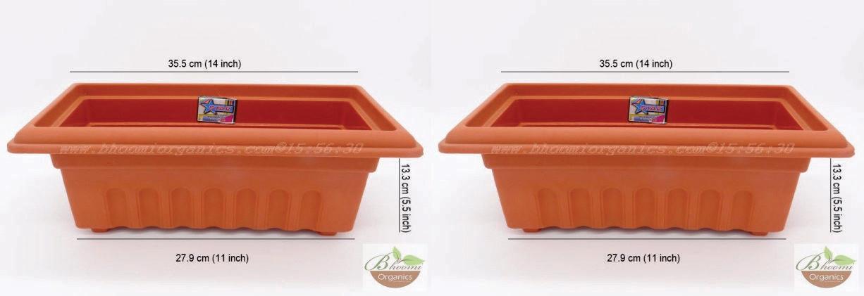 Rectangle terracotta plastic pot GK12 (14 inch)