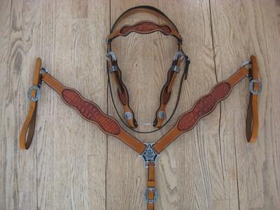 Embossed Gator Print Headstall & Breast Collar Set