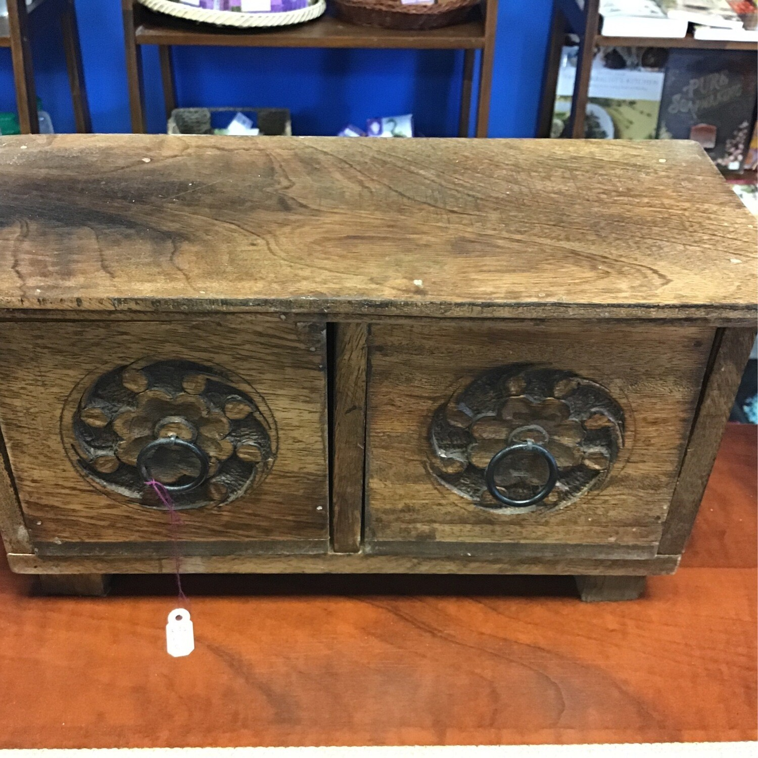 """2-drawers Wooden Herb Chest - 9.5"""" x 4.75"""" x 4.5"""""""