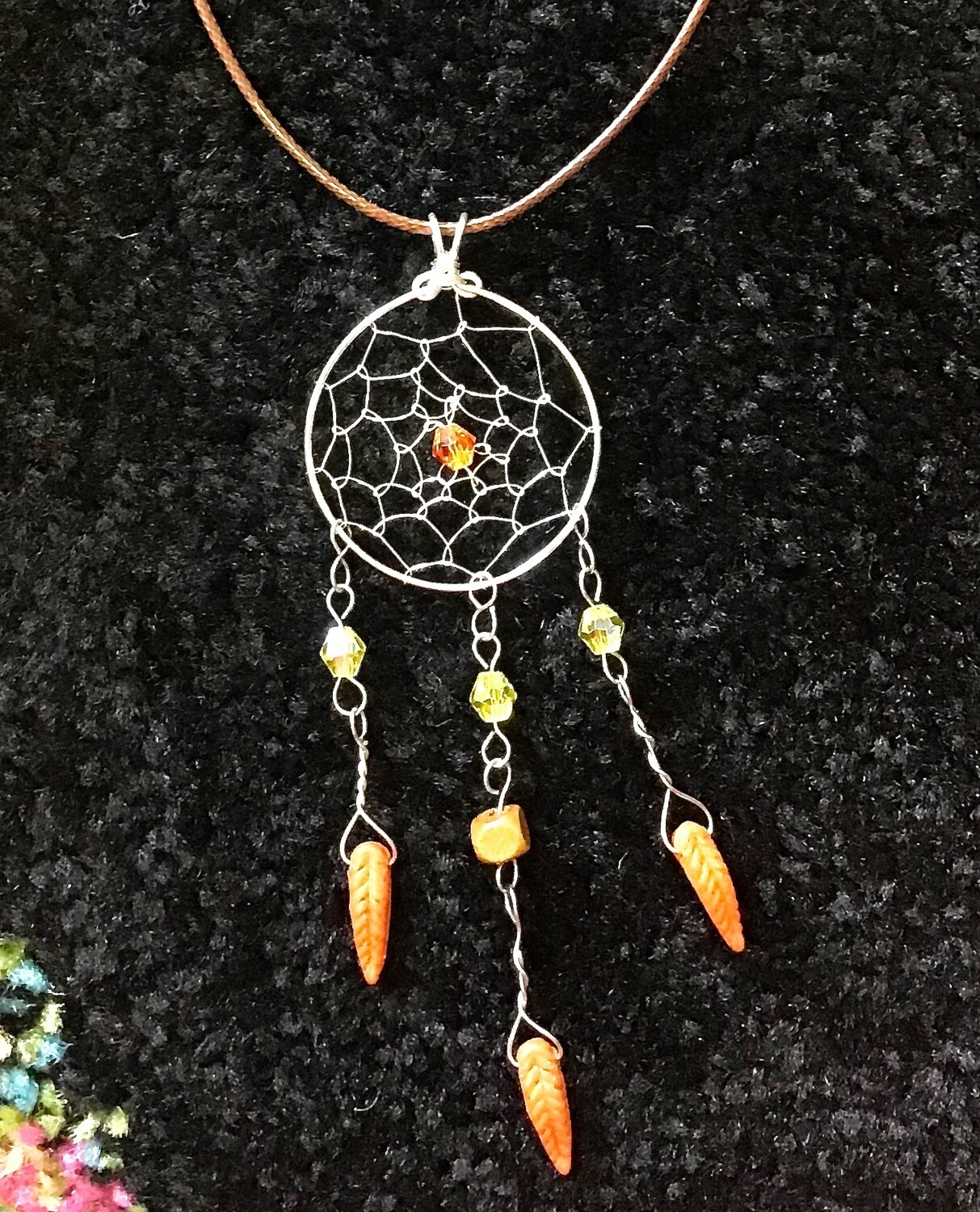 "Dream Catcher With Orange Feathers of 16 "" Waxed Cord"