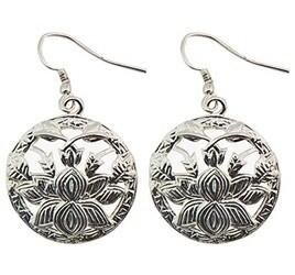 """Lotus White Metal Earrings - 1"""" D"""