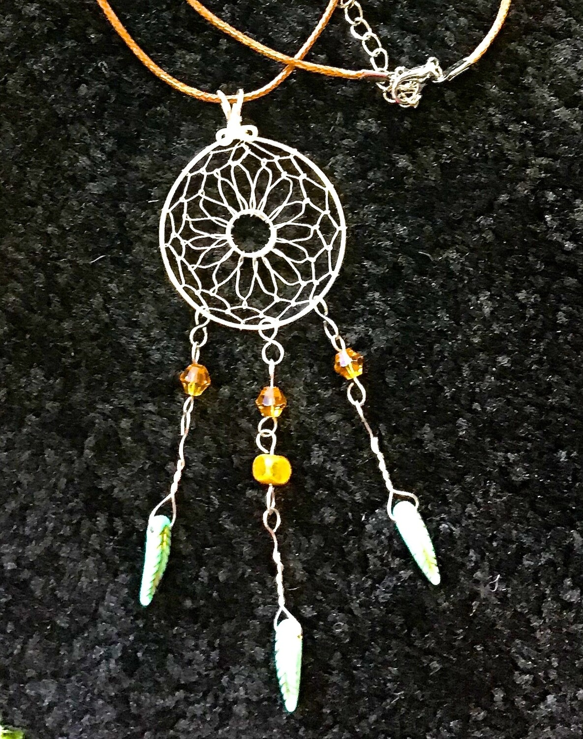 "Dream Catcher with Light Green Feathers on 16"" Waxed Cord"
