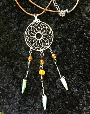 Dream Catcher with Light Green Feathers on 16