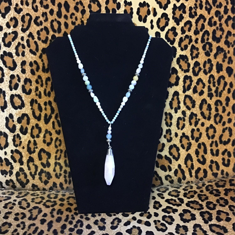 Rose Quartz Morganite Howlite Necklace