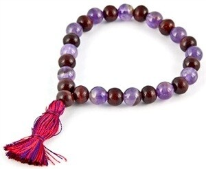 Amethyst & Red Sandal Stretch Bracelet