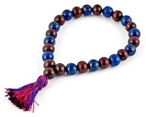 Lapis Lazuli & Red Sandal Stretch Bracelet
