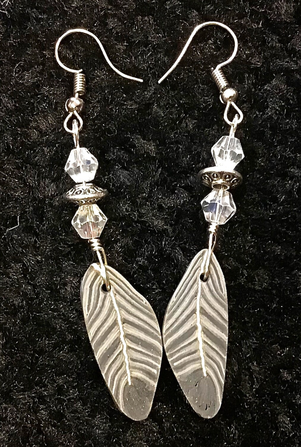Grey feather Earrings