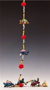 5 Lac Turtle String Bells with Beads - 36