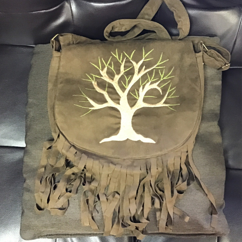 Tree of Life Vegan Suede Bag