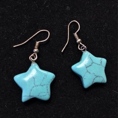 Blue Howlite Star Earrings