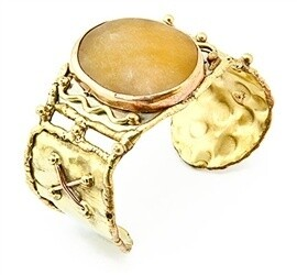 Gold Cuff Bracelet With Large Stone