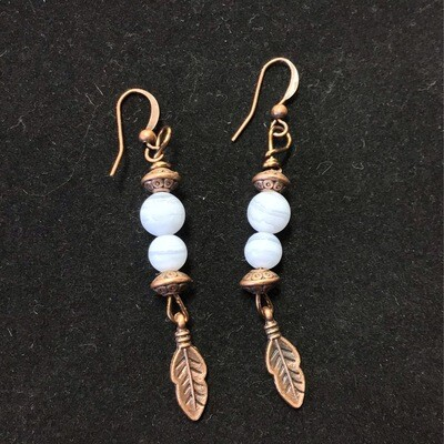 Blue Lace Agate Feather Earrings