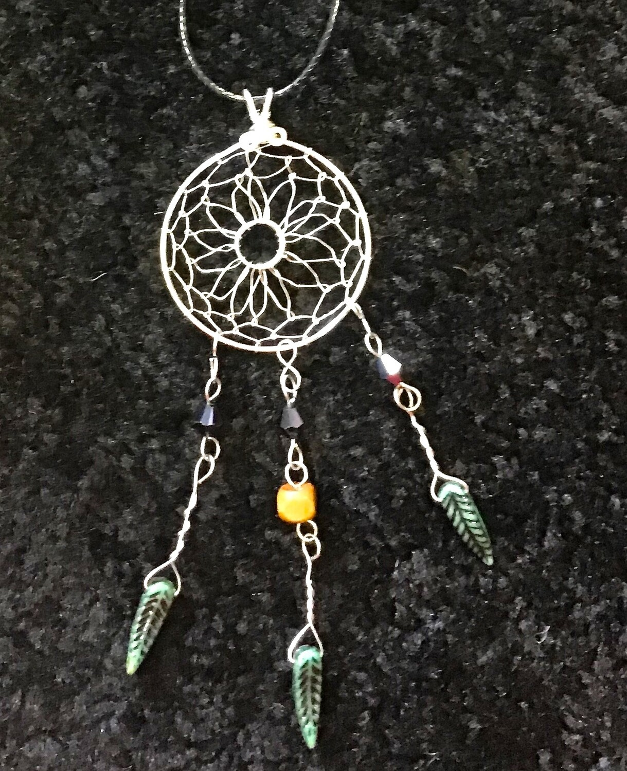 "Dream Catcher with Dark Green Feathers on 16"" waxed Cord"