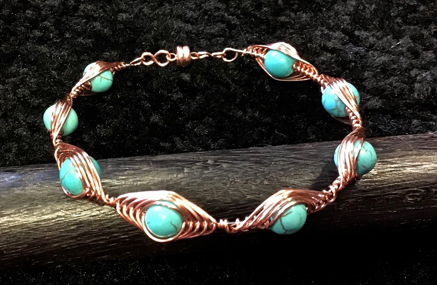 Stone Weave Turquoise Bracelet With Magnetic Clasp