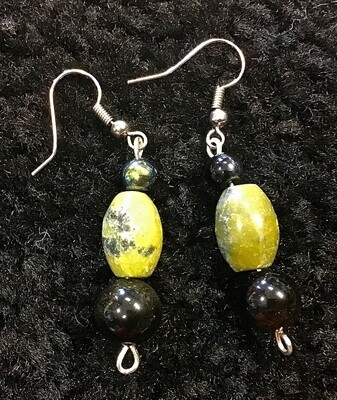 Lime Colored Stone Earrings