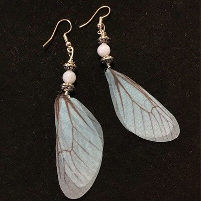 Blue Lace Agate Fairy Wing Earrings