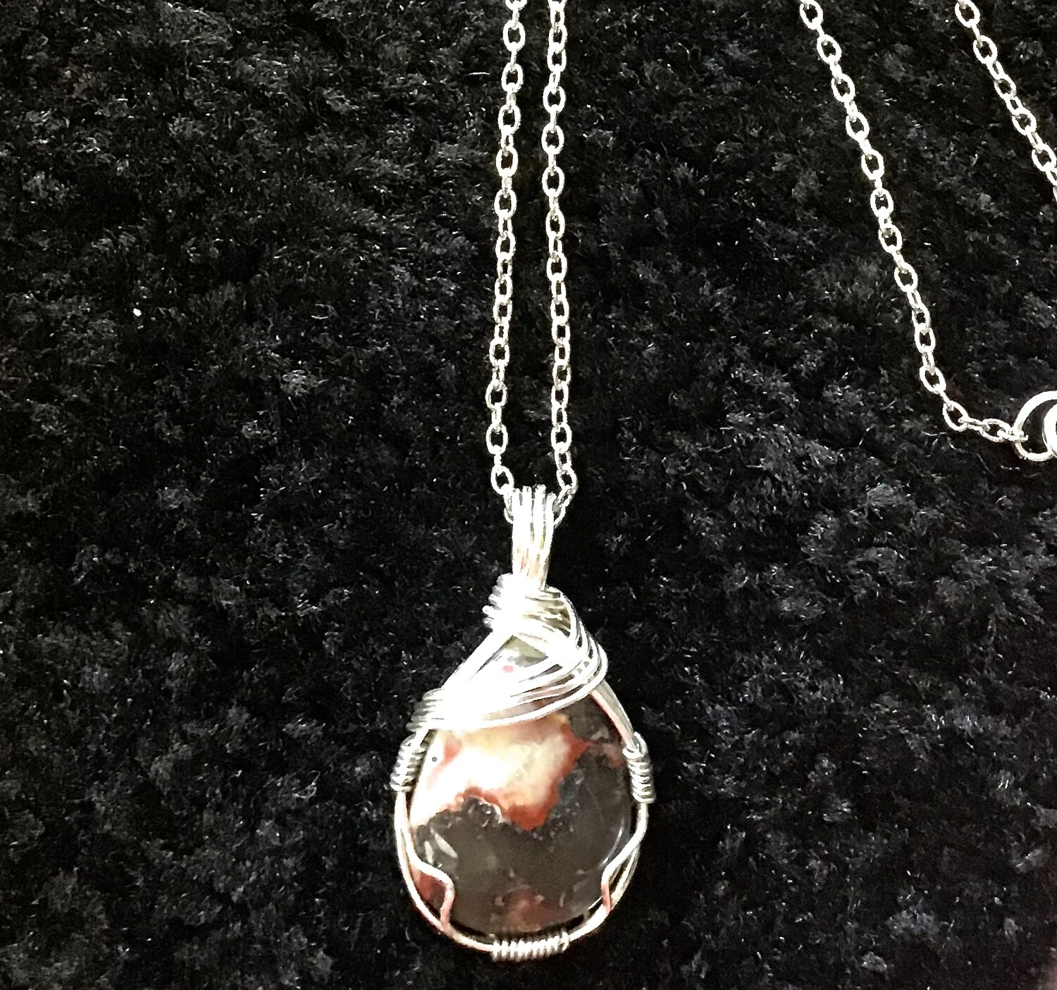"Silver Wrapped Stone on 16"" Chain With Lobster Clasp"