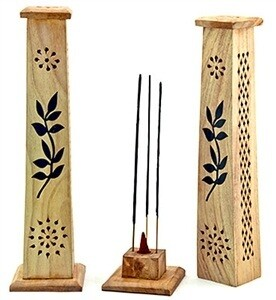 "Incense Tower Burner with hand painted flowers. Size: 10"" Length Material: Mango Wood"