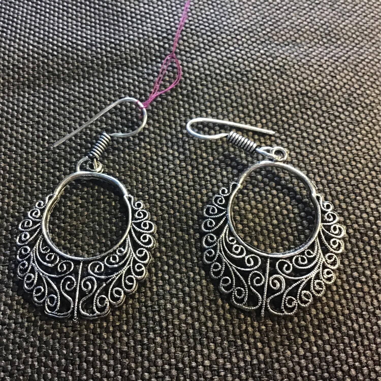 Tibetan Scroll Leaf Earrings