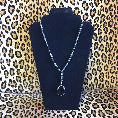 Black Onyx Snowflake Obsidian Necklace