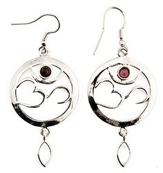 "Om Symbol with Garnet White Metal Earrings - 1"" D"