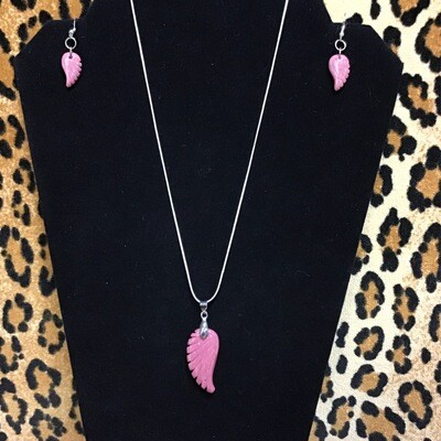 Pink Rhodonite Wing Set