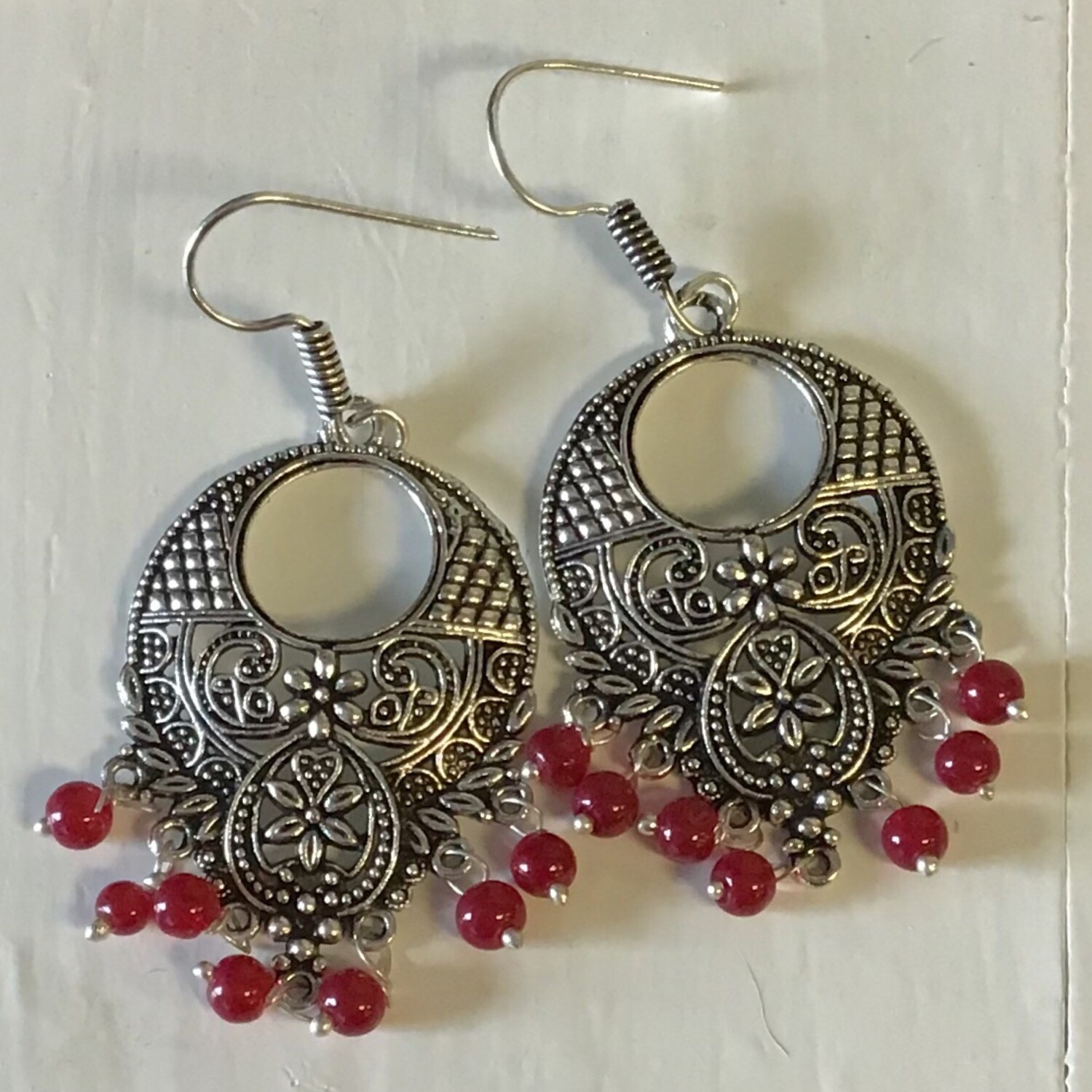 "Earrings with Beads White Metal - 1""W, 2.5""L"