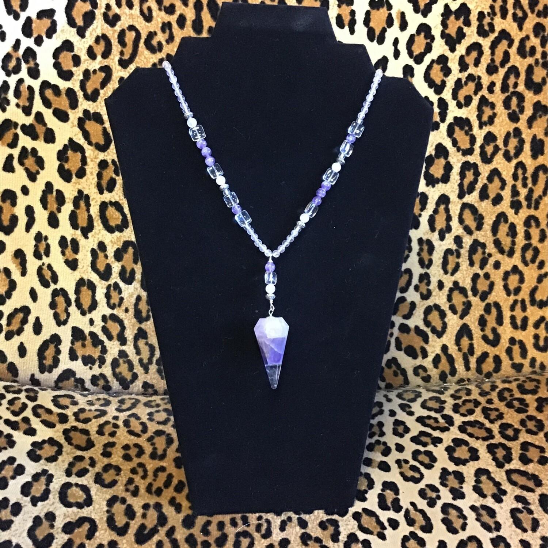 Rose Quartz Amethyst Clear Quartz Pendulum Necklace