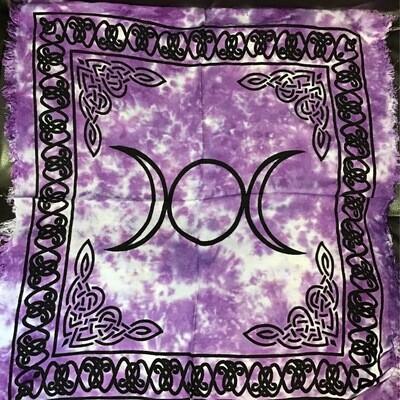 "Triple Moon Purple Altar Cloth 18""x18"""