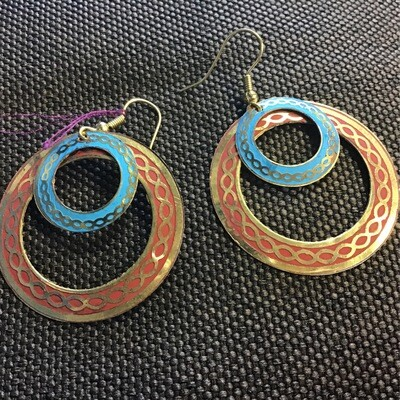 Brass Blue And Red Celtic Knot Earrings