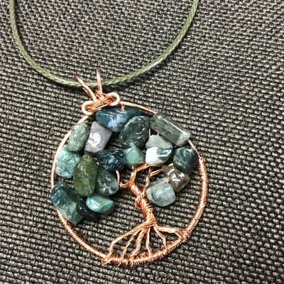Tree of Life Moss Agate with Waxed Cord