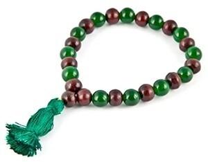 Green Jade & Red Sandal Stretch Bracelet