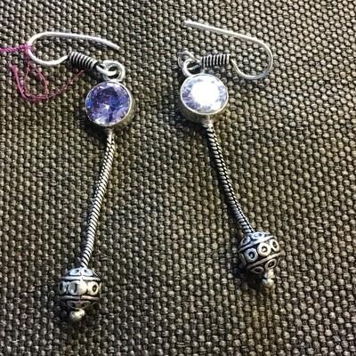 Tibetan Lavender Stone Earrings
