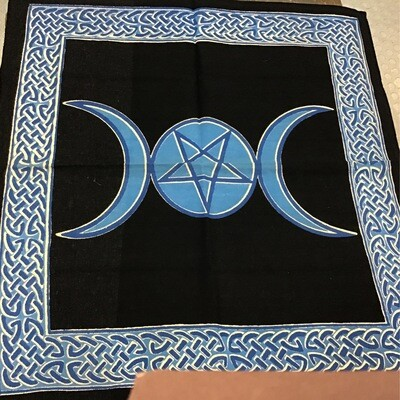 "Triple Moon Blue 24""x24"" canvas Altar Cloth"