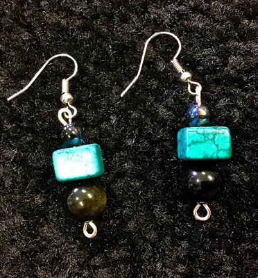 Turquoise Cube Earrings